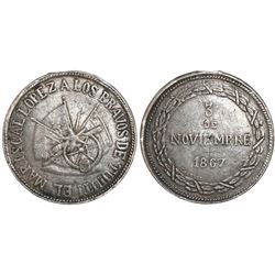 Paraguay, silver military medal, 1867, Battle of Tuyuti, rare.