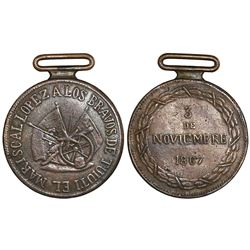 Paraguay, bronze military medal, 1867, Battle of Tuyuti.