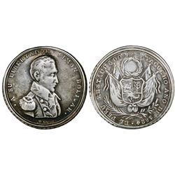 Ayacucho, Peru, silver medal, 1824 (struck 1825), Restoration of Peru in Ayacucho by Bolivar.