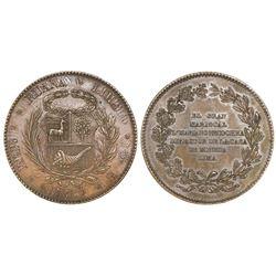 Peru, bronze medal, 1837, Mariano Necochea, NGC MS 61 BN, ex-Cotoca Collection.