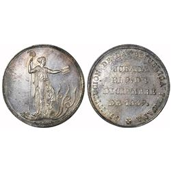 """Lima, Peru, """"10 reales"""" (1-1/2 peso)-sized silver proclamation medal, 1839 (Constitution), ex-Cotoca"""