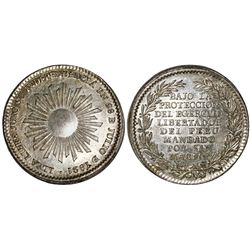 Peru, silver medal, 1821 Independence Proclamation (struck 1849), NGC MS 62, ex-Cotoca Collection.