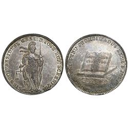 Lima, Peru, silver 8R-sized proclamation medal, 1852, President Echenique / Constitution and Codes,