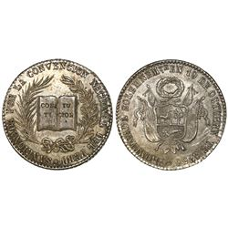 Peru, 4R-sized silver medal, 1856, Constitution / National Convention, NGC MS 62, ex-Cotoca Collecti
