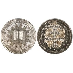 """Peru, """"6 reales""""-sized silver medal, 1860, Constitutional Reform, NGC AU 58, ex-Cotoca Collection."""