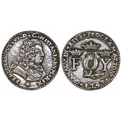 Granada, Spain, cast silver proclamation medal, Ferdinand VI, 1747, rare.