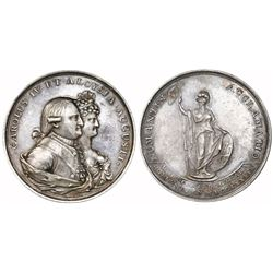 Soria, Spain, silver proclamation medal, Charles IV, 1789.