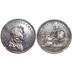 "St. Kitts (St. Christopher), silver medal, Louis XIV, Paris mint, dated 1666 (struck ca. 1860), ""E:B"