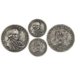 Montevideo, Uruguay, cast silver proclamation medal, Charles IV, 1789.
