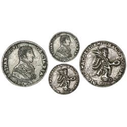 Montevideo, Uruguay, cast silver proclamation medal, Ferdinand VII, 1808, rare.