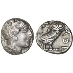 "Attica, Athens, AR tetradrachm ""owl,"" after 449 BC."