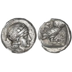 "Bactria, AR tetradrachm, Sophytes, ca. 325/305-294 BC), imitating Athenian tetradrachm ""owl,"" NGC Ch"