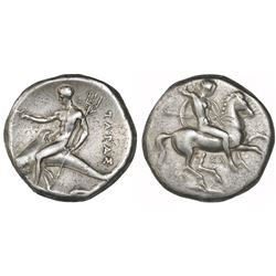 "Calabria, Tarentum, AR nomos ""boy on dolphin,"" 315-302 BC."