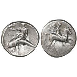 "Calabria, Tarentum, AR nomos ""boy on dolphin,"" ca. 272-240 BC."