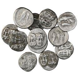 Lot of twelve Moesia, Istros, AR drachms, ca. 400-350 BC.