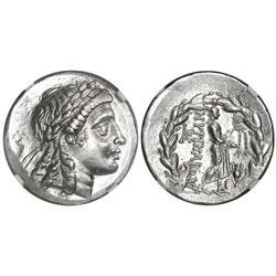Myrina, Aeolis, AR tetradrachm, mid-2nd century BC, stephanephoric type, NGC Choice AU, strike 4/5 s