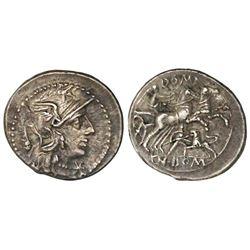 Roman Republic, AR denarius, Cn. Domitius, 128 BC, Rome mint.
