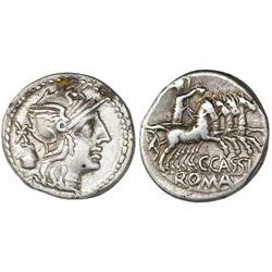 Roman Republic, AR denarius, C. Cassius, 126 BC.