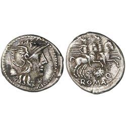 Roman Republic, AR denarius, T. Quinctius Flaminus, ca. 126 BC, Rome mint.