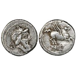 Roman Republic, AR denarius, Q. Titius, 90 BC.