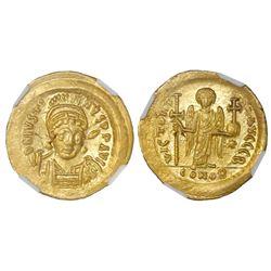 Byzantine Empire, AV solidus, Justin I, 518-527 AD, NGC MS, strike 4/5, surface 4/5 / flan flaw.