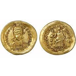 Byzantine Empire, AV solidus, Theodosius II, 402-450 AD, Constantinople mint.