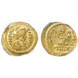 Byzantine Empire, AV semissis, Maurice Tiberius, 582-602 AD, NGC MS, strike 4/5, surface 4/5.