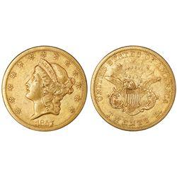 """USA (San Francisco mint), $20 coronet Liberty """"double eagle,"""" 1857-S."""