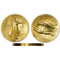 "USA (Philadelphia mint), high relief $20 St. Gaudens ""double eagle,"" 1907, wire rim."