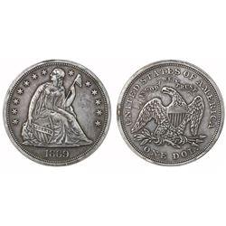 USA (Philadelphia mint), $1 seated Liberty, 1869.