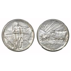 USA (Denver mint), half dollar, 1937-D, Oregon Trail, NGC UNC details / improperly cleaned.