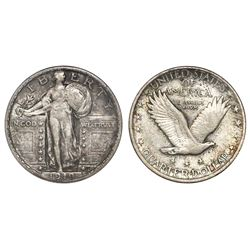 "USA (Denver mint), quarter dollar ""Standing Liberty,"" 1919-D, ANACS EF 45."