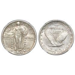 "USA (Philadelphia mint), quarter dollar  ""Standing Liberty,"" 1921, NGC AU details / cleaned, key dat"