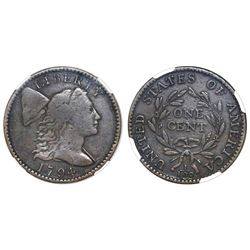 """USA (Philadelphia mint), one cent """"Flowing Hair,"""" 1794, head of 1795, S-72, NGC F 12 BN."""