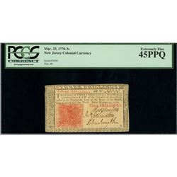New Jersey, USA, colonial currency, 3 shillings, March 25, 1776, plate B, serial 33093, PCGS Choice