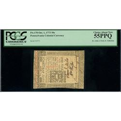 Pennsylvania, USA, colonial currency, 50 shillings, Oct. 1, 1773, serial 18771, PCGS Choice About Ne
