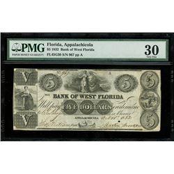 Apalachicola, Florida, USA, Bank of West Florida, $5, 3-11-1832, serial 967, plate A, PMG VF 30.