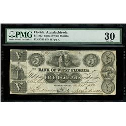 Appalachicola, Florida, USA, Bank of West Florida, $5, 3-11-1832, serial 967, plate A, PMG VF 30.