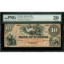 Jacksonville, Florida, Bank of St. Johns, $10, 21-3-1859, serial 1963, PMG VF 20.