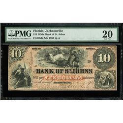 Jacksonville, Florida, Bank of St. Johns, $10, 21-3-1859, serial 1963, PMG VF 20.