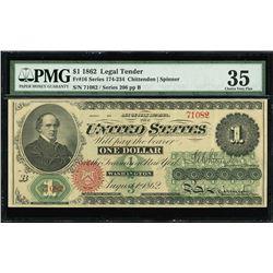 USA (Washington, D.C.), Legal Tender, $1, July 11, 1862, series 206, Chittenden-Spinner, serial 7108
