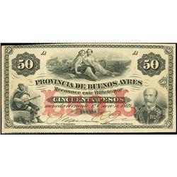 Buenos Aires, Argentina, Provincia de Buenos Aires, 50 pesos, 1-1-1869, serial 180380, rare.