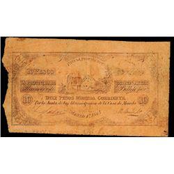 Buenos Aires, Argentina, Provincia de Buenos Aires, 10 pesos, 1-3-1841, serial 143373.