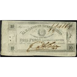 Buenos Aires, Argentina, Provincia de Buenos Aires, 10 pesos, 25-5-1858, serial 114164.