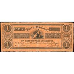 Buenos Aires, Argentina, Provincia de Buenos Aires, 1 peso, 1-1-1841, serial 64009.
