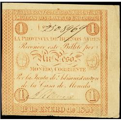 Buenos Aires, Argentina, Provincia de Buenos Aires, 1 peso, 1-1-1844, serial 9508969.