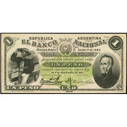 Buenos Aires, Argentina, Banco Nacional, 1 peso, 1-1-1883, series L, serial 0773030.