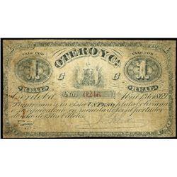 Cordoba, Argentina, Otero y Ca., 1 real plata boliviana, 1-4-1869, serial 0246.