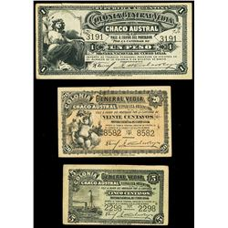 Lot of three General Vedia, Chaco, Argentina, Colonia General Vedia, notes, (ca. mid-1800s): 1 peso,