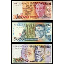 Lot of 23 Brazil, Banco Central, specimen notes, 1986-93